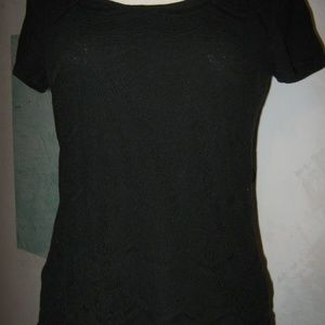 Black Crochet Front Boat Neck Stretch Shirt L